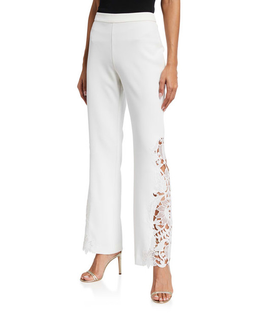 Light Ivory Pant With Lace Embroidered Hem