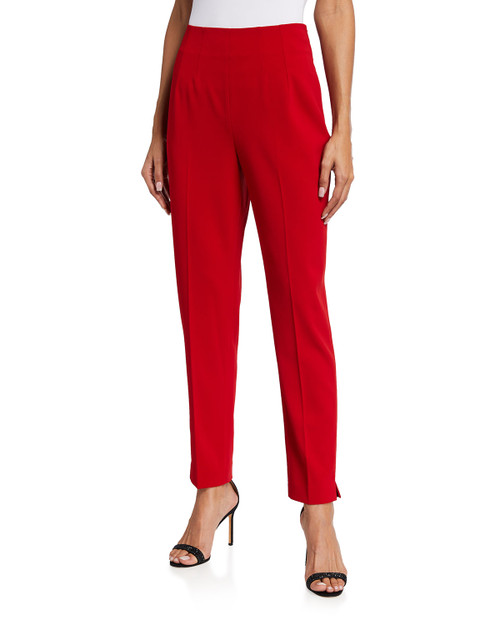 Red Stretch Crepe Fitted Pant Front