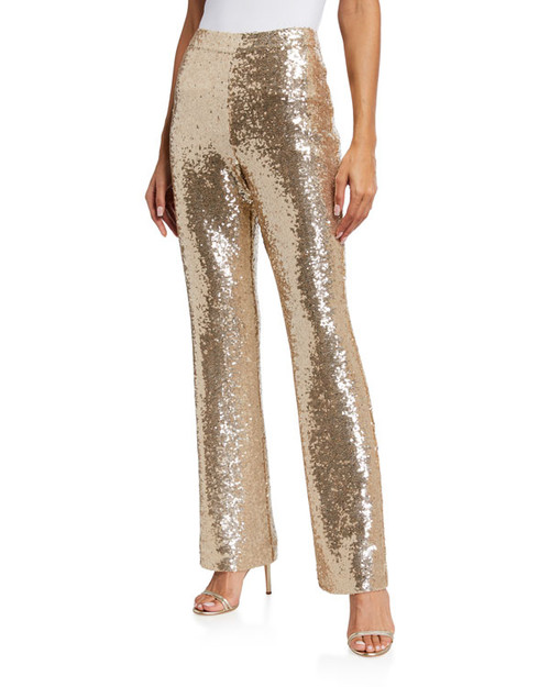 Champagne Stretch Sequin Pant