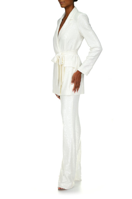 White Sequin Pants Front Side