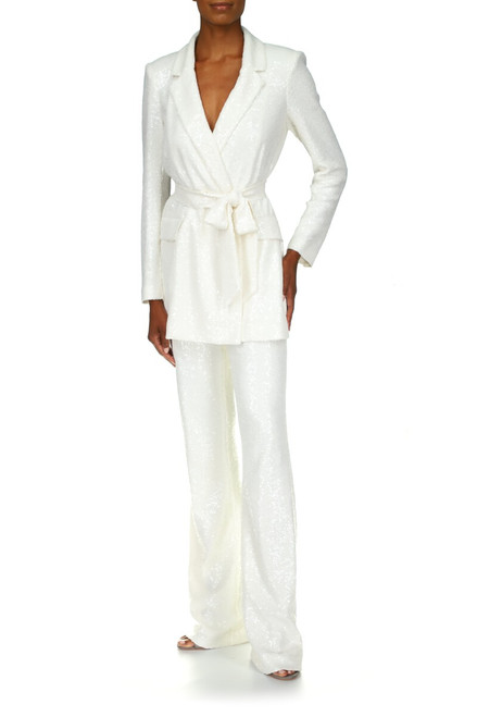 White Sequin Pants Front