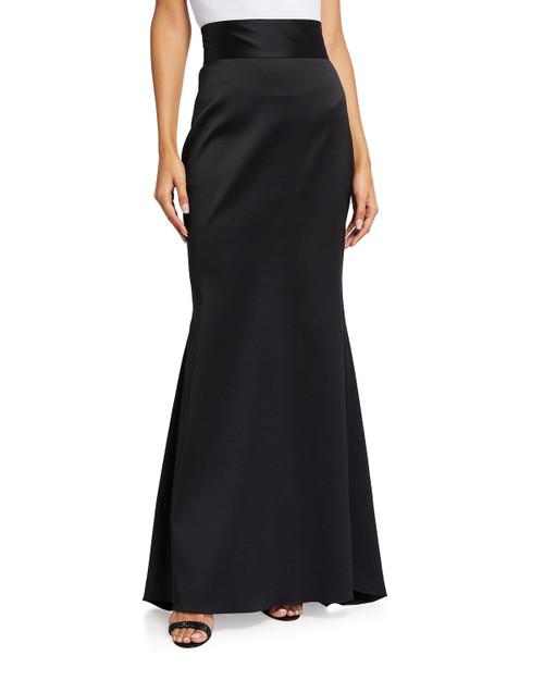 Black Stretch Mikado Fishtail Skirt Front