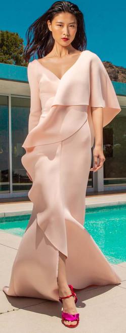 Blush Asymmetrical Ruffle Front Gown