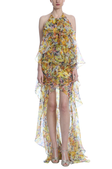 Yellow Multi Printed Ruffle Hi-Low Gown Front