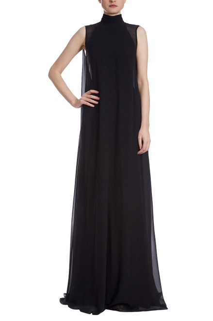 Black Runway Lace Back Drape Gown Front