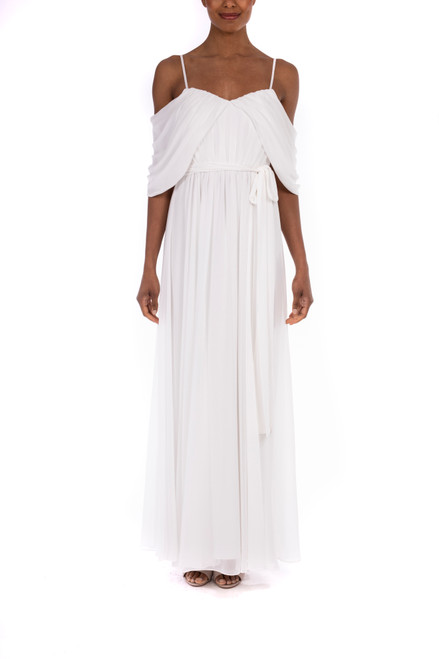 Ivory Pleated Georgette Gown Front