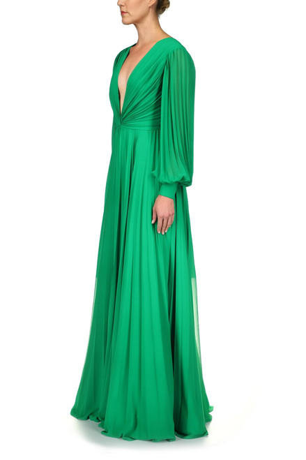 Palm Green Pleated Georgette Gown Front Side