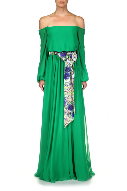 Palm GreenFloor Length Bohemian Gown Front