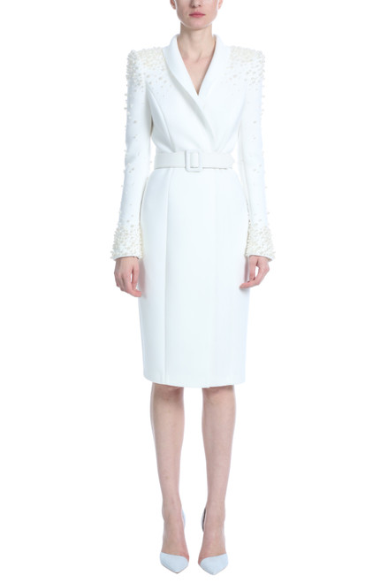 Light Ivory Pearl Sleeve Belted Cocktail Dress Front