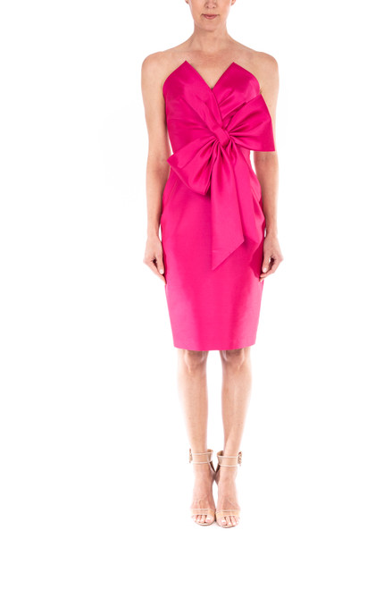 Fuchsia Front Bow Cocktail Dress Front
