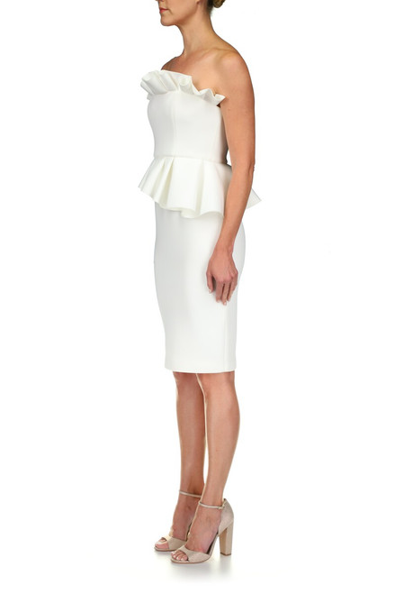 Light Ivory Ruffle Detail Cocktail Dress Front Side