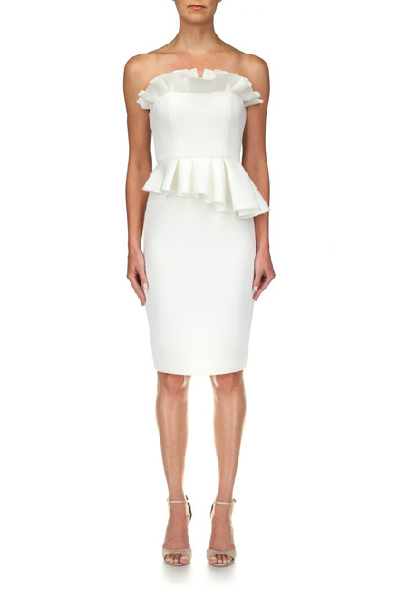 Light Ivory Ruffle Detail Cocktail Dress Front