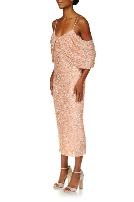 Peony Off-the-Shoulder Sequin Dress Front Side