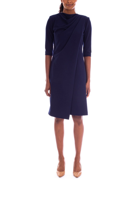 Navy Classic Crepe Dress Front