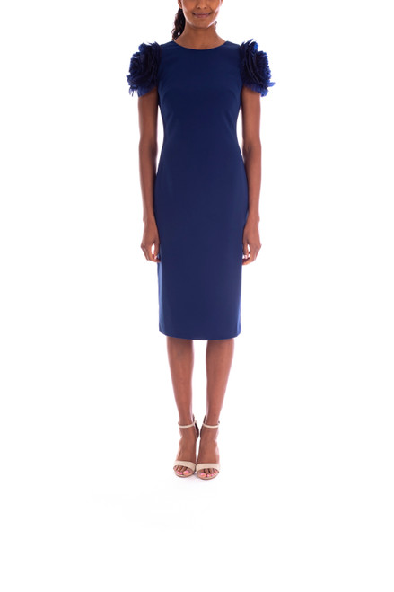 Navy In-Bloom Flower Sleeve Day Dress Front