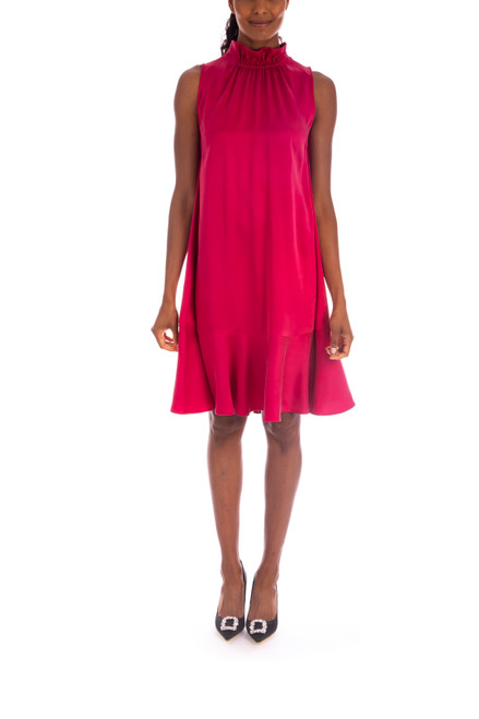Berry Silk Trapeze Dress Front