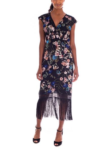 Black Multi Fringed Floral Dress Front