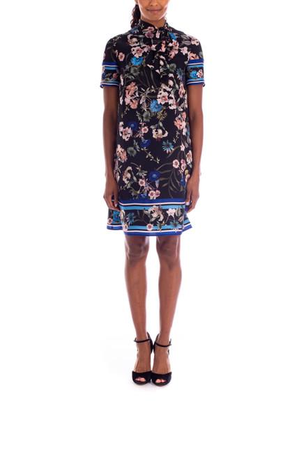 Black Multi Floral Tie-Neck Dress front