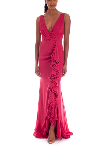 Berry Wrap Gown with Pompom Trim Front