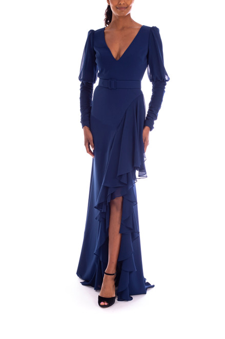 Indigo Floor Length Gown with Ruffle Slit Front