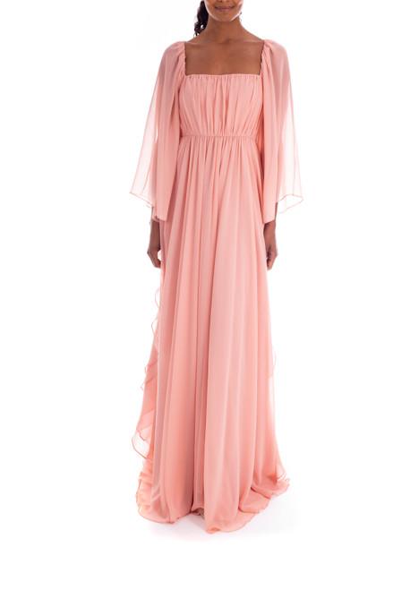Antique Rose Romantic Floor-Length Flowing Gown Front