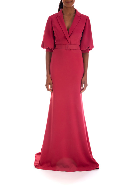 Berry Belted, Collared V-Neck Gown Front