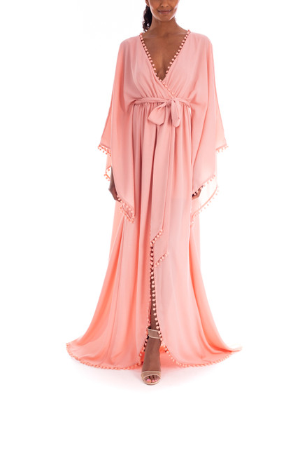 Antique Rose Flowing Floor-Length Gown Front