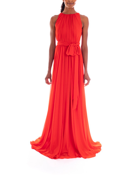 Hibiscus Sleeveless High-Neck Pleated Georgette Gown Front