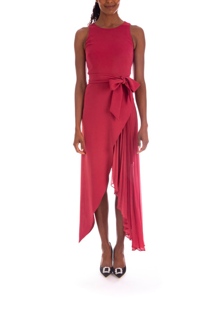 Berry Asymmetrical Wrap Dress with Georgette Underlay Front