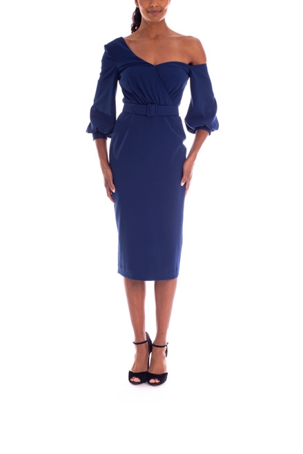 Inidgo Fitted Drop-Shoulder Asymmetrical Dress Front