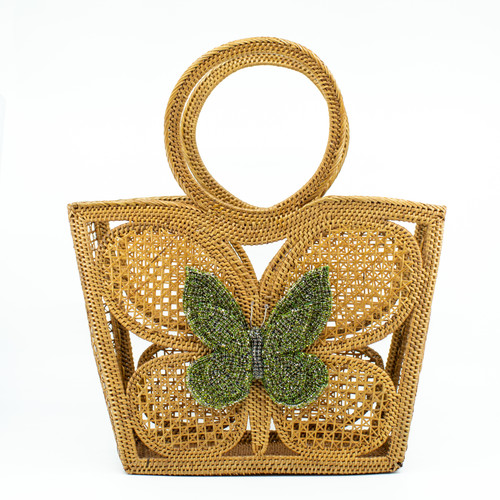 Green Butterfly handwoven bag front