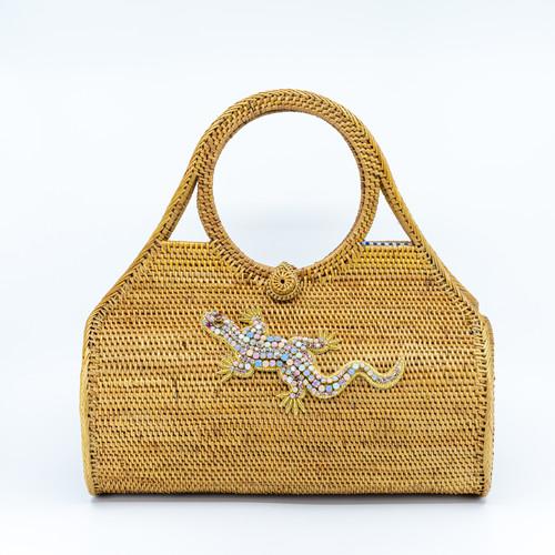 Opal Lizard Handwoven Bag Front