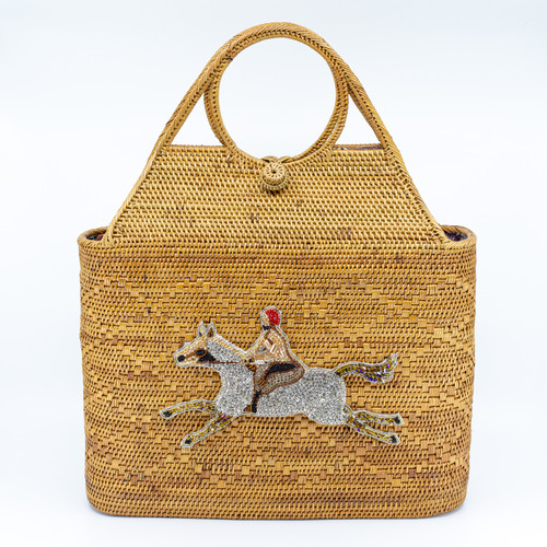 Riding Horse Handwoven Bag Front