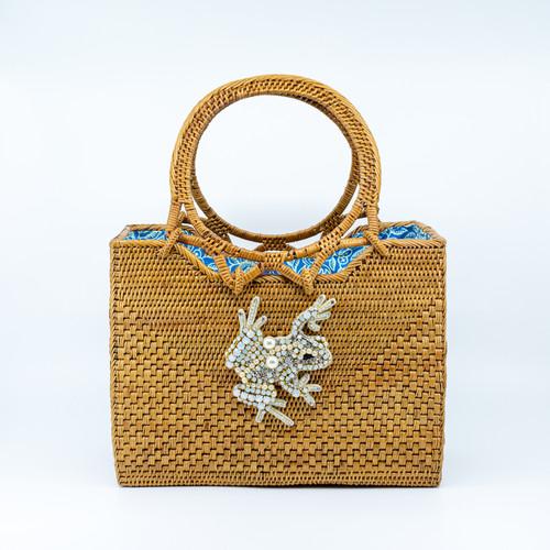 Opal Frog Handwoven Bag front