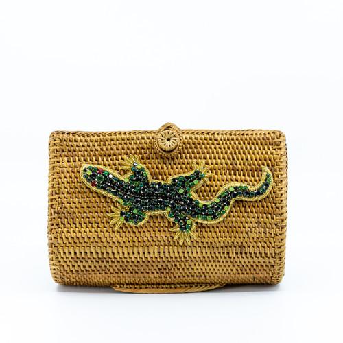 Emerald Lizard Handwoven bag Front