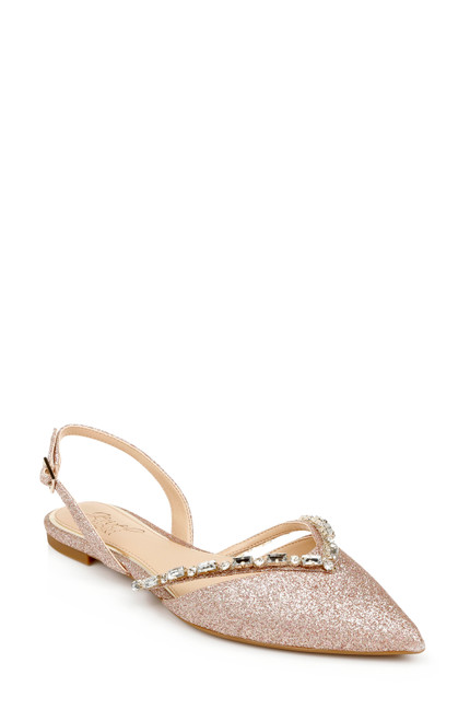 Rose Glitter Camden Pointed Flat Front Side