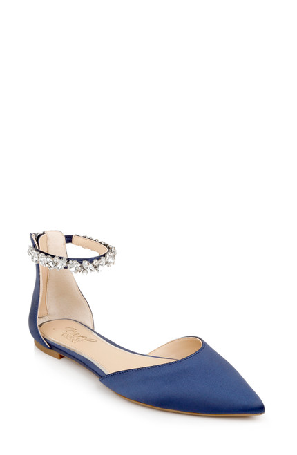 Navy Cassidy Flat Pointed Shoe Front Side