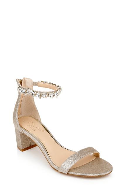 Gold Glitter Catalina Open Toe Block Heel Front Side