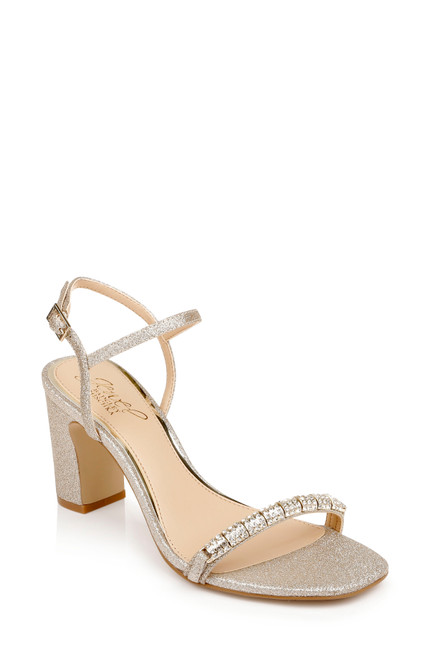 Gold Glitter Charlee Block Heel Front Side