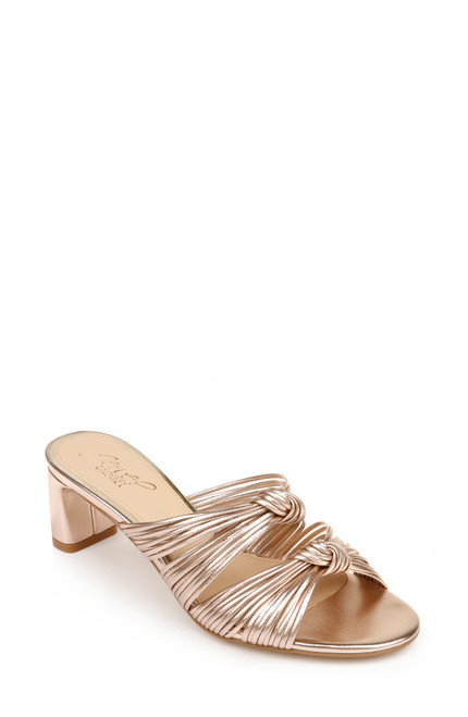 Rose Gold Cheryl Backless Double-Knotted Block Heel Front Side