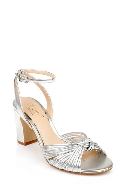 Silver Christen Metallic Knotted Block Heel Sandal Front Side