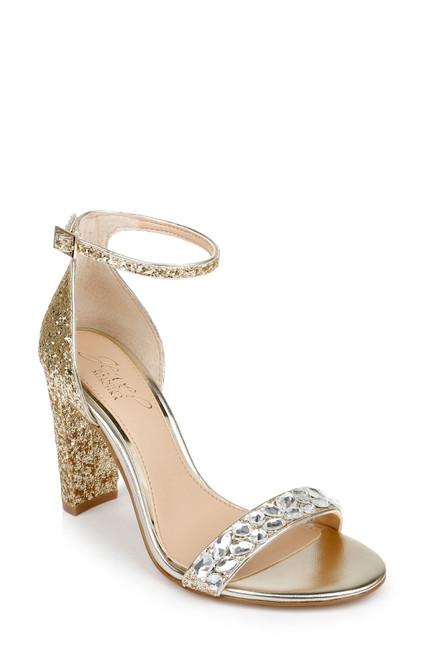 Gold Glitter Cleo Glitter High Block Heel Front Side
