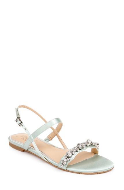 Seafoam Osmond Crystal Flat Sandal Front Side