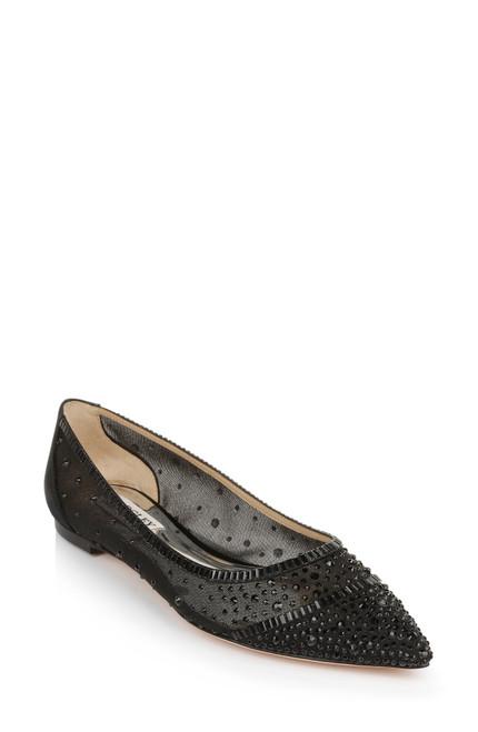 Black Babette Bejeweled Mesh Flat Front Side