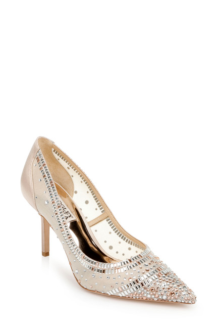 Nude Bailey Bejeweled Mesh Stiletto Front Side