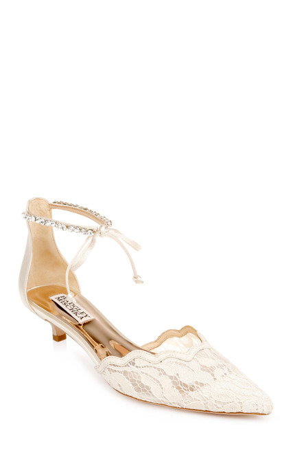 Ivory Betsy Embroidered Kitten Heel Front Side
