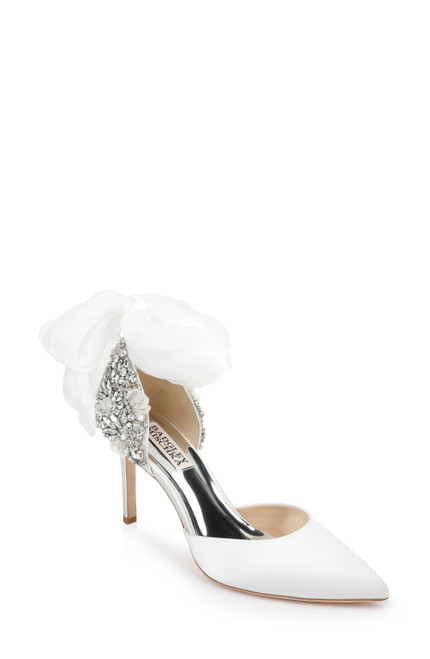 White Bohemia Crystal Bowed Stiletto Front Side