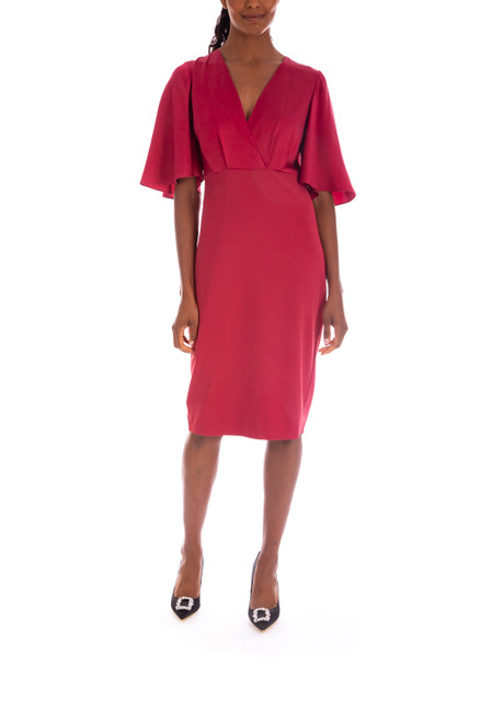 Berry Flutter Sleeve V-Neck Cocktail Dress Front
