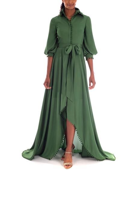 Vineyard Green Crepe de Chine Shirt Gown Front