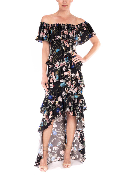 Black Mulit Off-the-Shoulder High-Low Gown Front